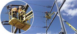 Arbeiten in luftiger Höhe im EnBW Umspannwerk Nehren