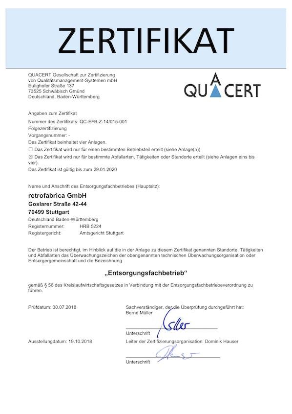 2019 Efb Zertifikat retrofabrica GmbH