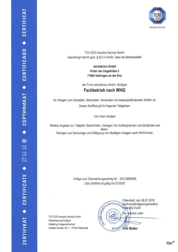WHG Zertifikat bis 07.2020